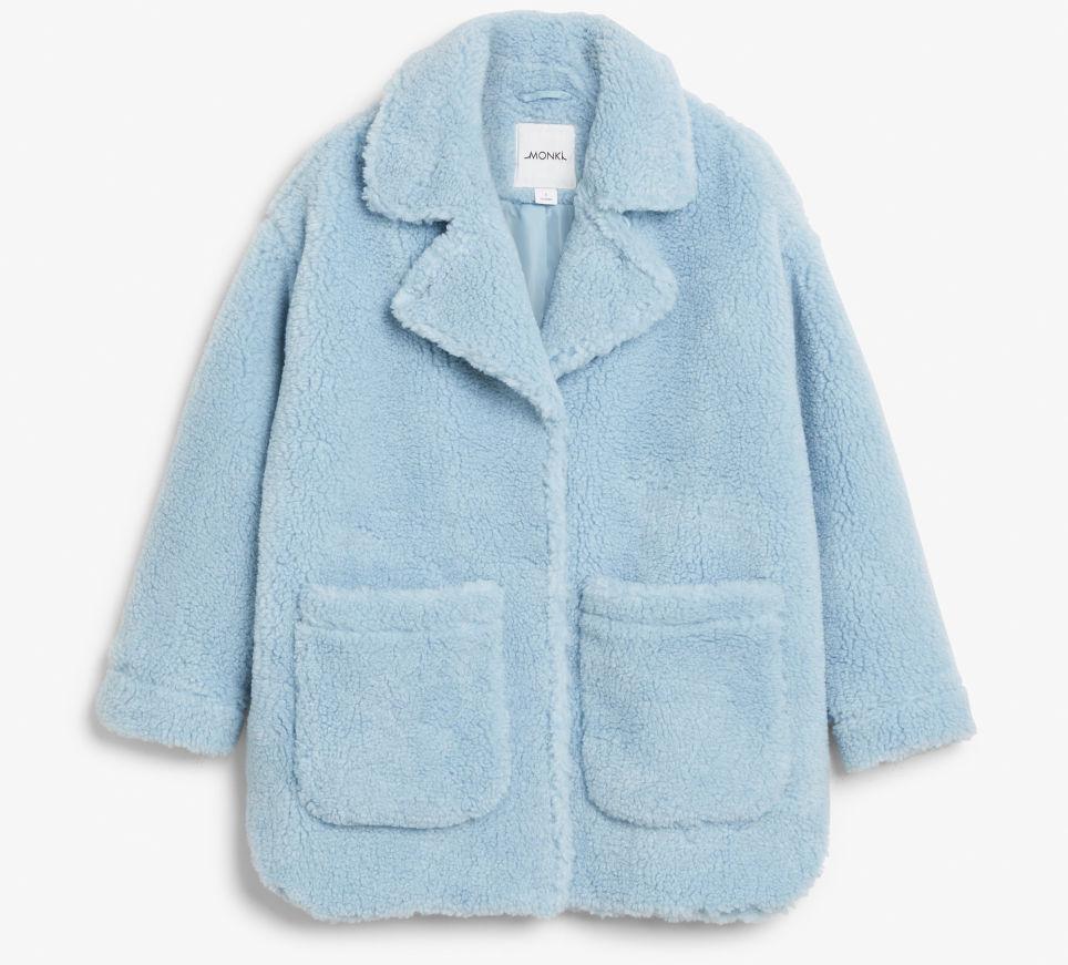 teddy coat blauw