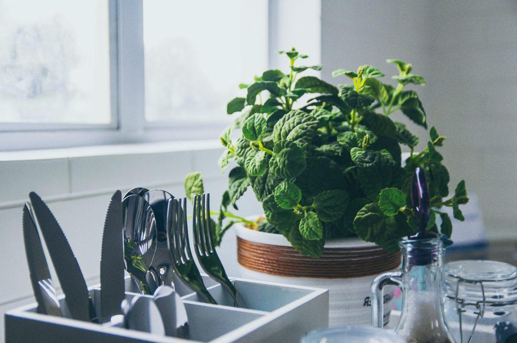 inspiratie low budget keuken make-over planten en kruiden